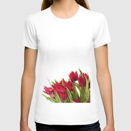 Red tulips bouquet sprinkled T-shirt