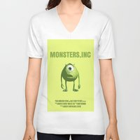 monster inc V-neck T-shirts featuring Monsters, Inc by FunnyFaceArt