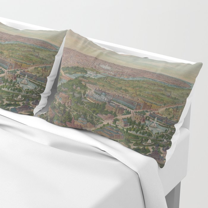 Vintage Pictorial Map of Philadelphia PA (1876) Pillow Sham