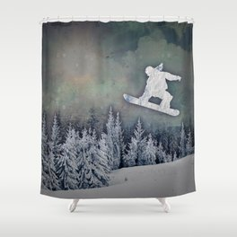 The Snowboarder Shower Curtain