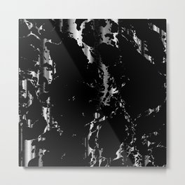 Black and Silver Marble Pattern Design Metal Print