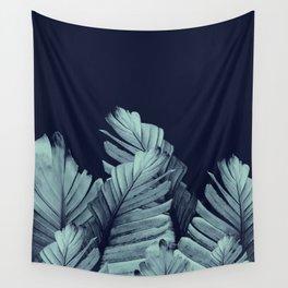 Navy Blue Banana Leaves Dream #1 #tropical #decor #art #society6 Wall Tapestry