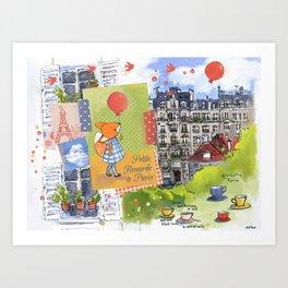 Petite Renarde à Paris Art Print