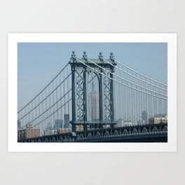 Empire State through Manhattan Bridge Art Print