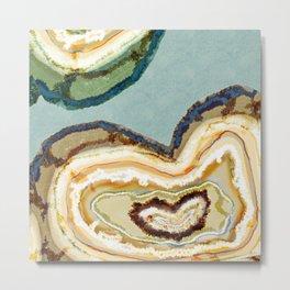 Zen Agate Heart Geode Stone Teal Cream Metal Print