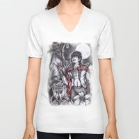 dracula V-neck T-shirts featuring Dracula by Furiarossa
