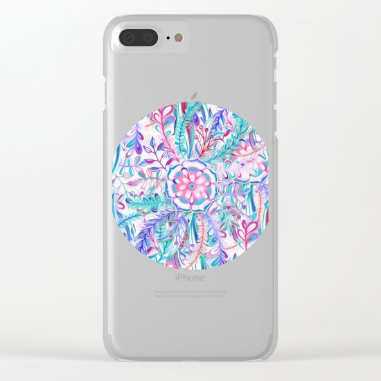 Boho Flower Burst in Pink and Teal Clear iPhone Case