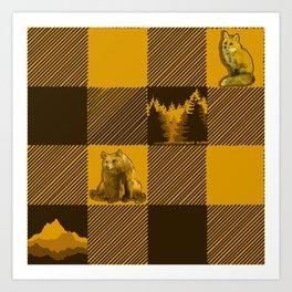 The Fox and The Bear Plaid #1 Yellow Art Print