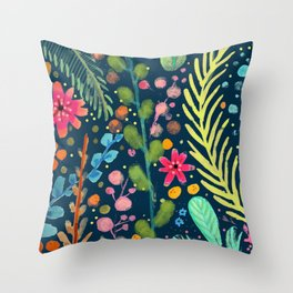 les prairies (navy) Throw Pillow