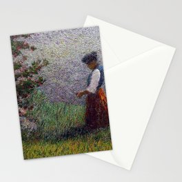 Ave Maria, lonely female portrait amid alps and flowering fruit trees painting by Angelo Morbellia Stationery Cards