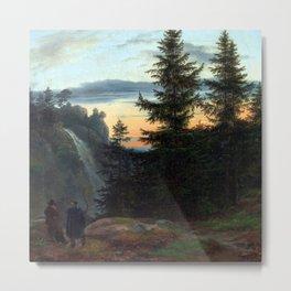 Johan Christian Dahl Waterfall at Sunset Metal Print