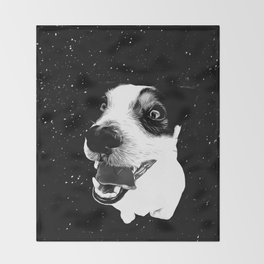 jack russell terrier dog space crazy va bw Throw Blanket