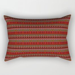 Aztec Tribal Motif Pattern in Red Mustard Salmon and Charcoal Rectangular Pillow