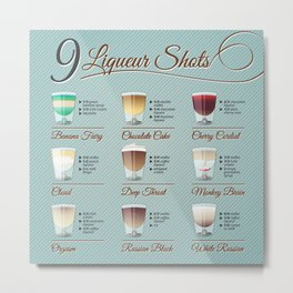 Liqueur shots illustration set with recipt Metal Print