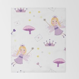 Cute Fairytale Pattern With Stars, Mushroom and Magic Wand Pattern Throw Blanket