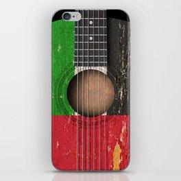 Old Vintage Acoustic Guitar with UAE Flag iPhone Skin