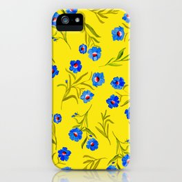 YELLOW & BLUE FLORAL iPhone Case