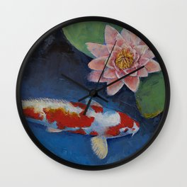 Koi and Water Lily Wall Clock