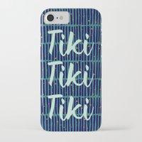 tiki iPhone & iPod Cases featuring Tiki Tiki Tiki - Navy/ Teal by YouNameIt