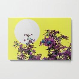Yellow sky and rowan tree Metal Print