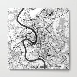Dusseldorf Map Gray Metal Print