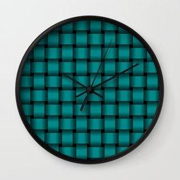 Dark Cyan Weave Wall Clock