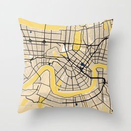 New Orleans Yellow City Map Throw Pillow
