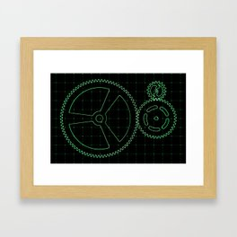 Set of green gears and cogs on virtual screen Framed Art Print