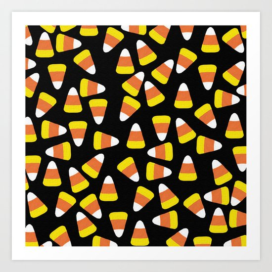 Candy Corn Jumble (black background) Art Print