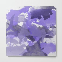 Purple Splatters Watercolor Illustration Patchy Digital Artwork Metal Print