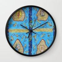 literature Wall Clocks featuring Obscene Literature by mel b textiles