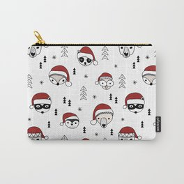 Scandinavian geometric woodland santa indian animals christmas pattern white red Carry-All Pouch