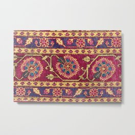 Mughal North Indian Late 17th Century Silk Carpet Print Metal Print