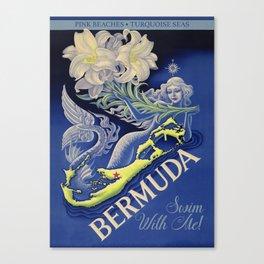 Vintage Mermaid Bermuda Canvas Print