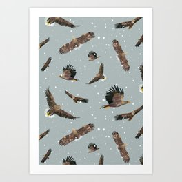 Eagles in the Snow Art Print