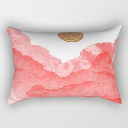Red watercolor abstract mountains and moon Rectangular Pillow
