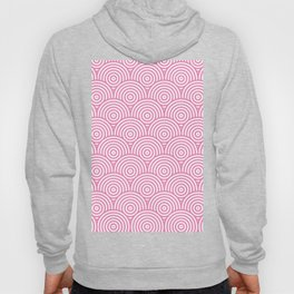 Geometric Scales Pattern - Pink & White #234 Hoody