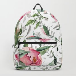 Aurora pink forest green gray watercolor floral Backpack