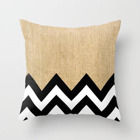 BURLAP BLOCK CHEVRON Throw Pillow