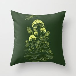 Mushroom, Frogs and Crystals with Dragofly Throw Pillow