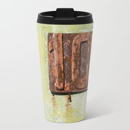 Old entrance door with the number 102 Travel Mug