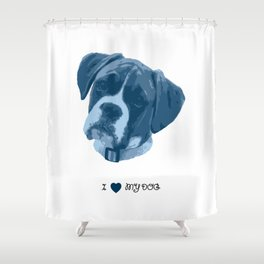 I love my dog - Boxer, blue Shower Curtain