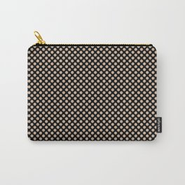 Black and Toasted Almond Polka Dots Carry-All Pouch