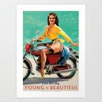 moto Art Prints featuring MOTO PINUP by Ads Libitum
