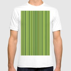 Many multicolored strips in the green sample Mens Fitted Tee MEDIUM White