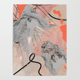 Earth and Fire: a collage print in black, white, and pink by Alyssa Hamilton Art  Poster