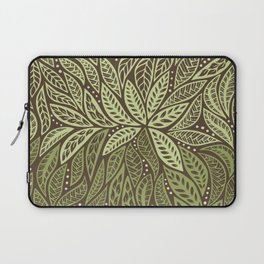 Polynesian Tribal Tattoo Shades Of Green Floral Design Laptop Sleeve