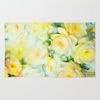 shabby chic Area & Throw Rugs featuring Shabby Chic Yellow by Jacqueline Maldonado