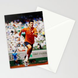 Novak Djokovic Tennis Chasing a Lob Stationery Cards
