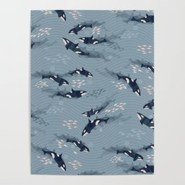 Orca in Motion / blue-gray ocean pattern Poster